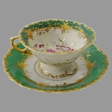 Gorgeous  Samson Green Porcelain Cup and Saucer  ~ A Beauty!