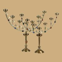 TWO Antique French Jeweled Gilt Candelabra ~ Gothic Revival Style ~ Seven Candles.