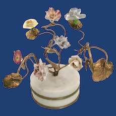 Antique French Porcelain Flowers in a Gilt Ormolu and Alabaster Plinth ~ CHARMING