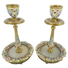 Antique French Champlevé Candle Holders. Lovely Champlevé  w Onyx Insert ~Color of Sky Blue, Cobalt, Burgundy, and Sunshine Yellow wFlowers Circle the Onyx Insert