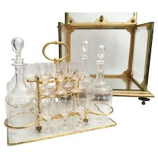 19C  French Dore' Bronze  Crystal Cave a Liqueur  ~ Exquisite  Decanters and  Glasses
