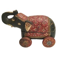 Vintage  Painted Wood Elephant Rolling Box Toy From India
