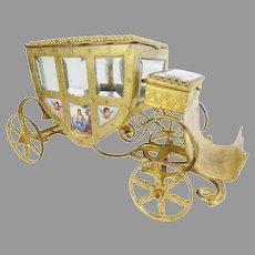 "Austrian Viennese Enamel ""Putti Pastoral"" Miniature Coach "" NINE PLAQUES""  Jewelry Box"