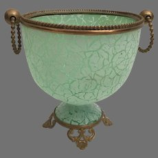 Antique Green Crackle Glass Double Handle Cachepot  ~  Gilt Ormolu Footed Base and Large Mounted Ring Handles