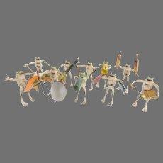 Antique Austria Bergmann Bronze Frog Orchestra  ~  Ten Musicians ~