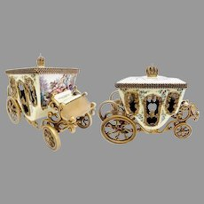 Magnificent Antique Vienna Enamel Miniature Coach ~  Winged Cherubs  ~ Pastoral Couple, Lambs and Dog