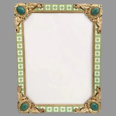 Austrian Jeweled Easel Back Frame ~ Magnificent Pearls and Giant Gems ~ Superior Quality