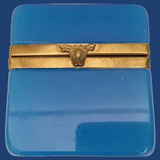 Stunning Antique French Blue Opaline Casket Hinged Box  ~   Smooth Mounts and  Fancy Lift Clasp