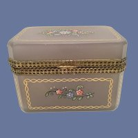 Antique Lavender Opaline Casket Hinged Box  - Beautiful Flowers and Gilding