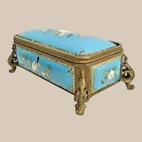 Jeweled French kiln-fired 119C Enamel Casket Hinged Box. 19th Century Blue Enamel  - Luscious White Flowers and Elegant Bronze Feet.