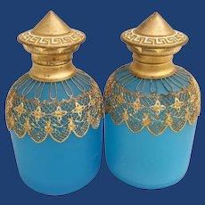 "Palais Royal Blue Opaline Perfumes ~ 5""  Marvelous Blue Opaline Draped in Very Fine Gilt Ormolu Lace  ~  Rare Enamel Flip Tops"