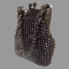 Vintage Estate  Italian Black Beaded Purse Marked for JANA ~  Wonderful Condition.