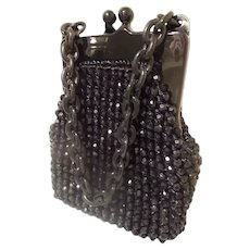 Vintage Estate  Italian Black Beaded Purse Marked for JANA ~  Wonderful Condition.