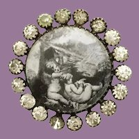 "19C French Paste ""PUTTI"" Lithograph covered with glass Button ~ The playful Puttis w a  Bird ~ Wonderful Size"