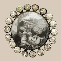 """19C French Paste """"PUTTI"""" Lithograph covered with glass Button ~ The playful Puttis w a  Bird ~ Wonderful Size"""