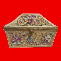 """Capodimonte Porcelain Dome Top Box """"Exotic Birds, Donkey, Tiger and Figures""""  ~ Stunning Shape and Delightful Colors."""