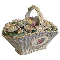 19C Antique Coalport Coalbrookdale Porcelain Basket ~ The Grandest Porcelain Masterpiece ~ Woven Porcelain Basket Filled w Delightful Flowers