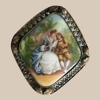 Vintage Czechoslovakia Porcelain Pastoral Broach in a Gilt Frame