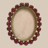 Beautiful Table Top Jeweled Picture Frame  ~ Easel Back  ~ Beautiful Red Gems  ~  Ready for your Prize Picture