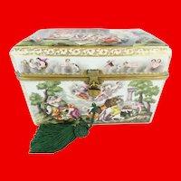 BIG Antique Capodimonte Casket Hinged Box ~ Putti, Dogs, Horses, Boar. Beautiful Ornate Mounts w Miniature Padlock and Key