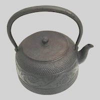 Charming Antique Japanese  Iron Tea Pot Kettle