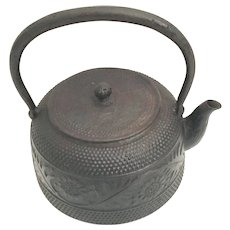Charming Antique Japanese  Iron Tea Pot Kettle