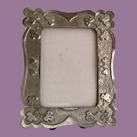 Czech Miniature Silver Metal Easel Back Frame =WAREHOUSE CLEAN OUT=