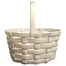 Vintage Italian White Porcelain Basket ~ MADE IN ITALY Paper Tag