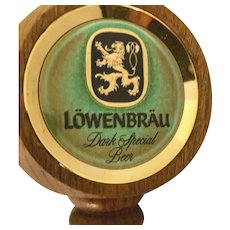 RARE Lowenbrau Dark Special Wooden TAP HANDLE ~ Three-sided head ~