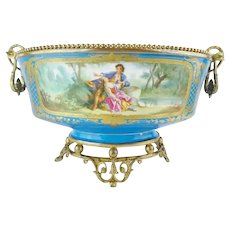 Magnificent and Very Fine  Antique Porcelain Center Bowl Flowers and Awesome Gilding ~ Extraordinary Footed Base