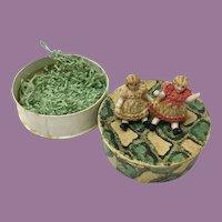 19C Porcelain Miniature Baby Dolls - A Pair in the Original Cardboard Box All Original Dresses