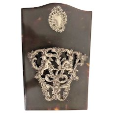 Faux Tortoise and Dore' Bronze Letter Holder ~ Table Top Easel Heavy Dore' Bronze w Two Putti's ~ Perfect for Letters, Notes, Pictures, etc