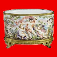 Antique Capodimonte Cachepot, Planter Jardinière ~ Exquisite  Ornate Bronze Mounts and a Footed Base ~ Precious Group of Putti's
