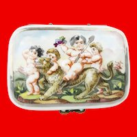 Wonderful Antique Capodimonte Putti Hinge Box ~  Gilt Mounted and All Sides with a Puttis and More Puttis ~ Top with a Putti Riding a Tiger.