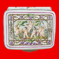 Sweet Antique Capodimonte Putti, Tiger and Goat Casket Hinged Box  ~ Putti Riding a Goat and a Putti Riding a Tiger ~ Ornate Metal Mounts and Lift Clasp.