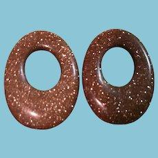 """Vintage """"Gold Stone"""" Stone Earring/Hoop Enhancers"""
