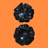 Vintage Black Flower Stone Earring Enhancer Use with Your Stud Earrings