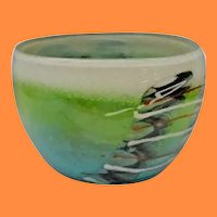 Vintage Estate Art Glass Bowl from American Studio. Artist Signed. Lush Colors