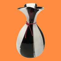 """FABULOUS 16 ½"""" Lico Zanetti ART GLASS Vase  ~ Purple, White, Clear with a Red Neck Tie ~ WOW!"""