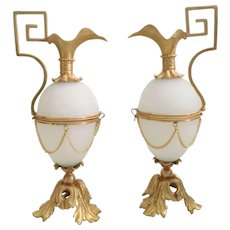 """PAIR 1880 French  8"""" White Egg Shaped Hinged Box """"Ewer Shape"""" ~  Gorgeous Bronze Mounts and Draped Chains ~  PALAIS ROYAL Opaline EWER Shape Boxes from My Treasure Vault."""