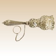 19C English Silver Tussie Mussie Posey Holder, Porte Bouquet ~ Original Finger Ring ~ A  BEAUTY!