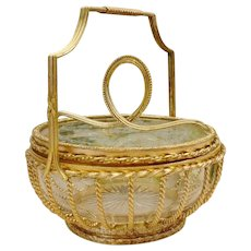 Antique French Gilt Bronze and Glass Covered Box