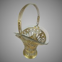 "Charming 11 ½"" Antique French Brass Handle Basket with Glass Liner ~ Perfect For A Giant Bouquet of Your Garden Flowers"