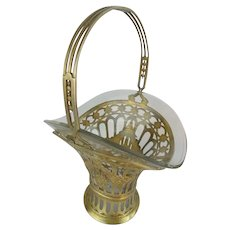 "EXQUISITE 11 ½"" Antique French Brass Handle Basket with Glass Liner ~ Perfect For A Giant Bouquet of Your Garden Flowers"