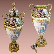 "Stunning French Champlevé Porcelain Putti & Bird Lidded Vase ~ Artist signed ""Daly"" ~  Stamped ""France"""