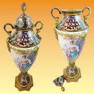 "Stunning French Champlevé Porcelain Putti & Bird Lidded Vase ~ Artist signed ""Daly"" ~  Stamped ""France"""