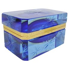 Stunning Antique Italian Blue Crystal Hinged Box ~ Awesome Deep Bright Blue with Beautiful Ornate Gilt Mounts and Lift Clasp ~ A BEAUTY from My Treasure Vault