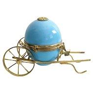 Antique Blue Opaline Egg  Cart Box
