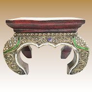 """Vintage Estate Indian or Moroccan Plinth  Stand Plateau  Stool   """"Colored Mirror Gems'"""