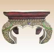 "Vintage Estate Indian or Moroccan Plinth  Stand Plateau  Stool   ""Colored Mirror Gems'"
